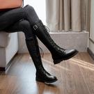 膝上靴 長筒靴女2020秋冬新款機車馬丁靴中筒不過膝網紅百搭高筒靴子女潮
