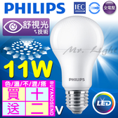 【有燈氏】活動限定 買十送二 PHILIPS 飛利浦 LED E27 11W 舒適光 球泡 燈泡 無藍光【PH-E2711W】
