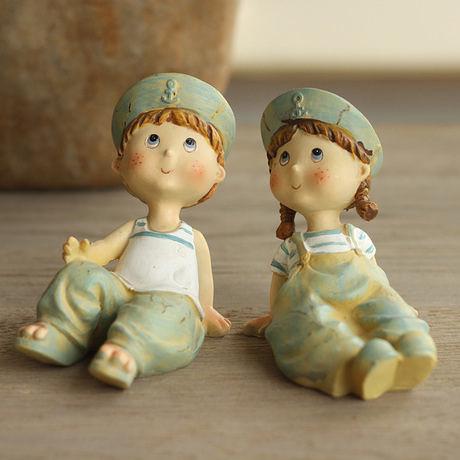 美式鄉村田園樹脂擺件 坐款海軍情侶娃娃1對