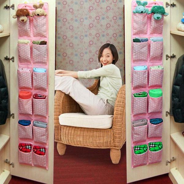 收納12格收納袋【BM家居】 門後室內廚房浴室衣櫃兒童收納掛袋 方便整理可清洗