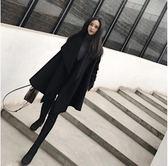 斗篷大衣 流行大衣新款韓版秋冬季寬松中長款黑色斗篷披肩毛呢子外套女