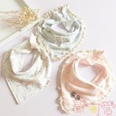 兒童三角口水巾純棉嬰幼圍嘴兜雙層按扣圍巾韓版【聚可愛】