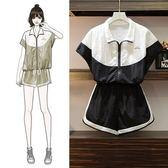特賣款不退換中大尺碼L-4XL休閒套裝兩件套新款加大碼女裝顯瘦兩件套休閒運動短褲套裝4F044-9998