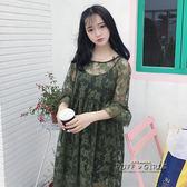 春夏女裝韓版中長款氣質寬鬆顯瘦蕾絲長袖洋裝長裙 打底吊帶裙     泡芙女孩輕時尚