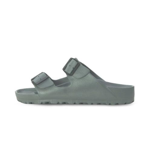 LIKA夢 LOTTO 馬卡龍雙扣環時尚輕量拖鞋 海灘拖鞋 室內、外拖鞋 鐵灰 5578 男