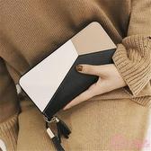 長夾 2019新款女士手拿錢包女長款韓版潮個性撞色拼接拉鏈女學生手機包 一次元