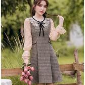 假兩件黑領結網紗袖腰身復古宮廷風A字裙洋裝[99265-QF]美之札