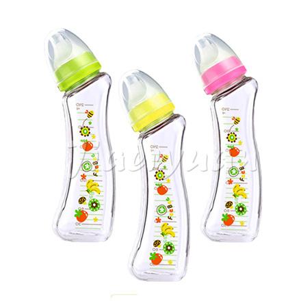BabyHouse 愛兒房 FeeBee 彎角玻璃奶瓶240ml-新鮮果漾(顏色隨機)【佳兒園婦幼館】