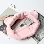 韓版頭飾絨貓耳朵魔術貼發箍頭巾