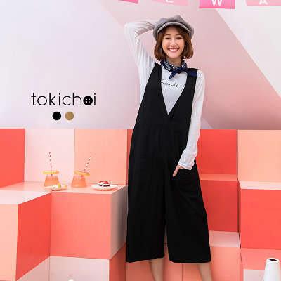 東京著衣-素色復古連身寬褲(172302)