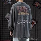 長袖T恤男潮牌嘻哈寬鬆個性印花套頭打底衫 扣子小鋪