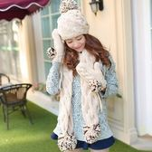 圍巾+毛帽+手套羊毛三件套-韓版可愛多彩防寒配件組合3色71an13[巴黎精品]