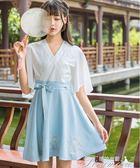 新款漢元素古風連衣裙改良漢服女中國風廣袖學生日常漢服春夏女裝 提拉米蘇