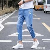 夏季彈力9九分牛仔褲男士韓版修身薄款小腳褲潮流男裝休閒男褲子『潮流世家』