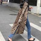 豹紋 長版 襯衫 外搭 外套 上衣 長袖...