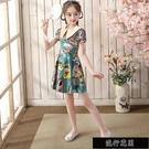 女童公主裙夏裝中國風洋裝小仙女甜美裙子中大兒童公主薄款【全館免運】
