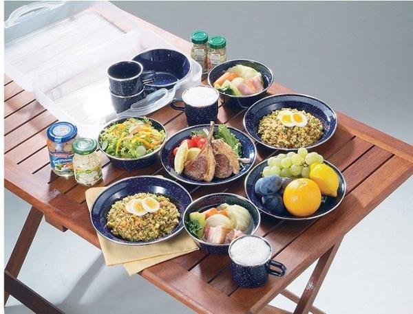 日本【CAPTAIN STAG】鹿牌琺瑯四人份餐具組附攜行盒M-1078