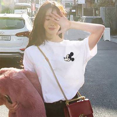 韓版t恤#M-2XL時尚簡約白色韓版圓領學生裝短袖T恤上衣新款女裝1538AN160紅粉佳人