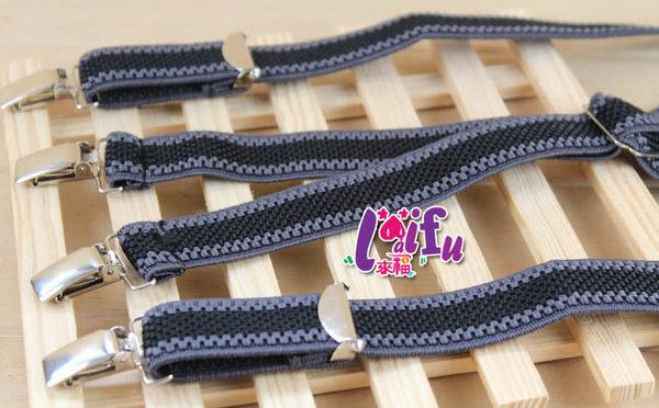 ★草魚妹★k975吊帶X夾四夾2.5cm皮質提花高質感西裝吊帶褲夾背帶吊帶,售價399元