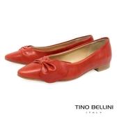 Tino Bellini義大利進口典雅領結尖頭娃娃鞋_ 紅 A73002 歐洲進口款