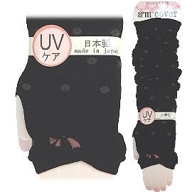 【波克貓哈日網】日本製UV袖套 ◇黑底灰圓點◇ 《套至手臂》60cm