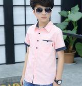 童裝夏裝男童短袖襯衫中大童夏季兒童