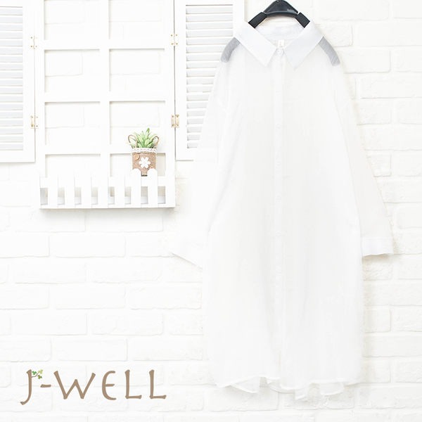 J-WELL 雪紡輕盈感長襯衫 8J1492
