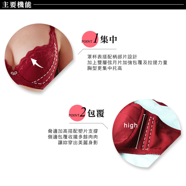 EASY SHOP-舒活開運 大罩杯D-F罩內衣(魅力紅)