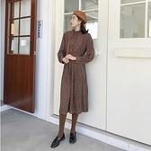 長袖洋裝-碎花寬鬆復古雪紡連身裙73xk4[時尚巴黎]