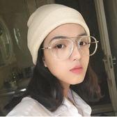 韓國原宿時尚透明白平光眼鏡光學眼鏡架大框圓臉眼鏡可配近視眼睛 全館免運