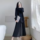 圓領洋裝拼接裙中大尺碼XL-5XL新款胖mm長袖過膝連身裙長裙寬鬆遮肚200斤R032-3779.胖胖唯依