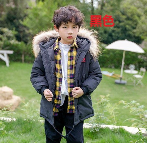 童裝男童羽絨棉服兒童冬季中長款加厚外套 毛領棉衣外套中大童燕尾棉服上衣 時尚潮流保暖外衣