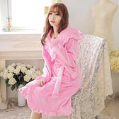 法蘭絨睡袍女荷葉邊珊睡衣浴袍家居服—聖誕交換禮物