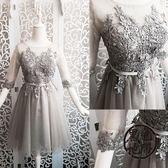 禮服 新款手工花邊短中袖短款禮服伴娘團禮服晚禮服姐妹裙裝結婚 ~黑色地帶