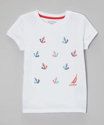Nautica短袖上衣 船錨圖案女童白色短袖T恤