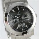 【萬年鐘錶】SIGMA 灰 三眼時尚腕錶 8807M-01