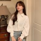燈籠袖上衣 早春季新款港風長袖襯衫法式上衣設計感小眾白色襯衣女百搭-Ballet朵朵