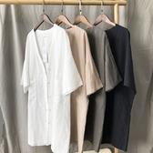 風衣外套-五分袖薄款中長版棉麻寬鬆女大衣4色73oj21【巴黎精品】
