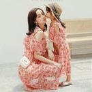 削肩葉子仙氣波西米亞洋裝母女親子裝(小孩)