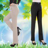 夏季中年女褲子彈力高腰休閒褲媽媽裝直
