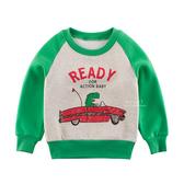 恐龍敞篷車內刷毛長袖上衣 童裝 T-shirt