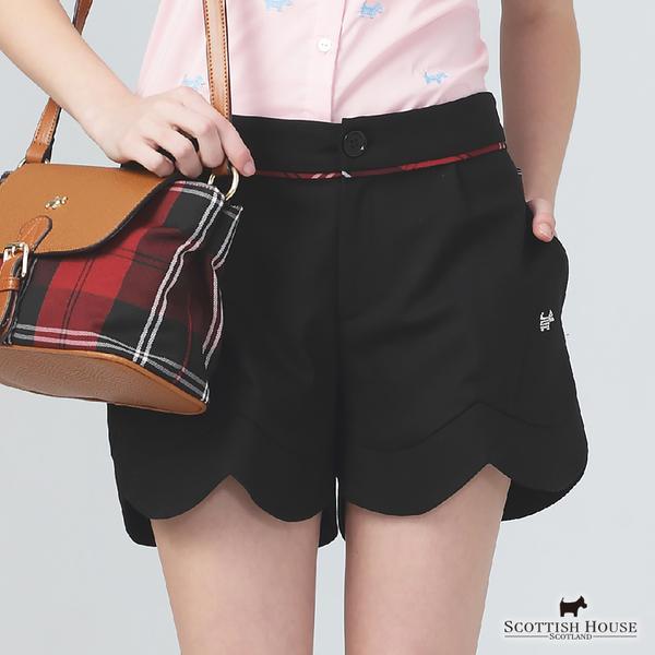 下擺弧度剪接造型設計格紋x純色短褲【AE2264】