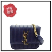 YSLVICKY系列鍊帶小羊皮側肩包-藍/小538439全新商品