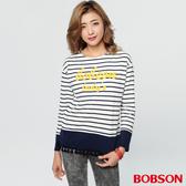 BOBSON 女款條紋流蘇刺繡上衣(37079-53)