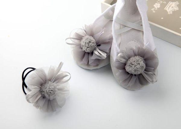 舞鞋 兒童舞蹈鞋 裙裝配件 演出芭蕾舞鞋 可愛蕾絲兔子花球 練功鞋
