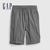 Gap男童 工裝風鬆緊直筒短褲 682045-煙灰色