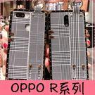 【萌萌噠】歐珀 OPPO R17 R17pro R15 R11s plus 高端歐美奢華方形 腕帶千鳥格紋 全包防摔軟殼 手機殼