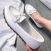 豆豆鞋 豆豆鞋女春季平底單鞋牛筋軟底懶人一腳蹬媽媽白色護士鞋 【創時代3C館】