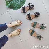 羅馬荷葉邊坡跟涼鞋女夏平底2018新款百搭中跟韓版學生時尚沙灘鞋 全館免運