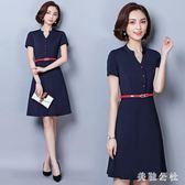 OL洋裝 夏天新款OL洋裝時尚氣質美容師工作服短袖ol白領OL洋裝 aj1870『美鞋公社』